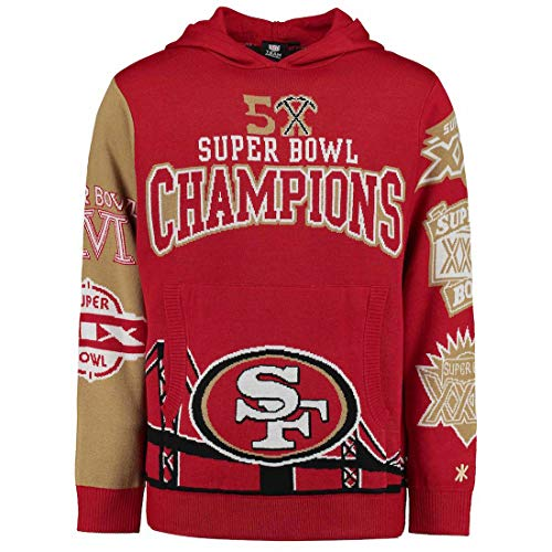 (Klew NFL Football Super Bowl Commemerative Acrylic Hoody - Pick Team (San Francisco 49ers, Medium))