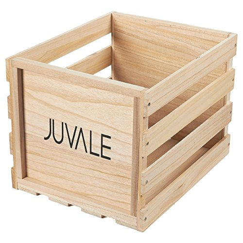 Pinewood Record Crate Holder - Unfinished Wooden Vinyl Storage Box, Holds up to 50 Albums, 17 x 12.5 x 11.75 inches
