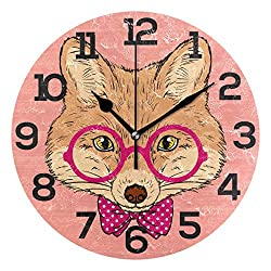 Dozili Cute Hipster Fox with Glasses Round Wall Clock Arabic Numerals Design Non Ticking Wall Clock Large for Bedrooms,Living Room,Bathroom
