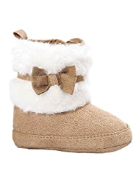 Baby Bowknot Cotton Keep Warm Soft Sole Anti-Slip Snow Boots Crib Prewalker Shoes Toddler