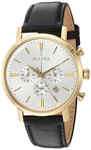 Bulova Men's Quartz Stainless Steel and Leather Dress Watch, Color:Black (Model: 97B155)