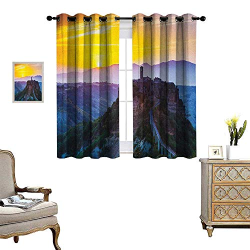 - Warm Family Italian Patterned Drape for Glass Door Old Historic Castle Town on Top of The Hills in Italian Renaissance at Sunset Print Waterproof Window Curtain W72 x L45 Multicolor