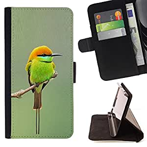 Jordan Colourful Shop - Green Orange Tiny Cute Bird Blurry Branch For Samsung Galaxy S6 - Leather Case Absorci???¡¯???€????€???????&b