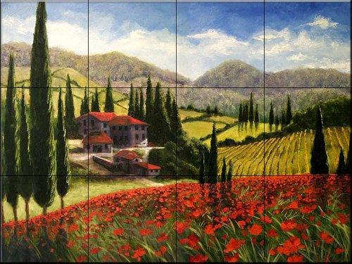 Ceramic Tile Mural - Tuscan Poppies - by Malenda Trick - Kitchen backsplash/Bathroom Shower