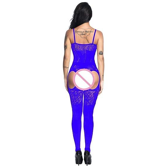 Bestow Siamese Mesh Sling Jumpsuit Perspectiva Entrepierna Bodystockings Abiertos Ropa Interior Pijama Intimates Mujeres(Azul, Tama?o Libre): Amazon.es: ...
