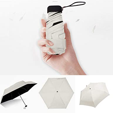 Cliramer Mini Travel Umbrella Light Compact Sun&Rain Outdoor Comfortable Square Handle Pocket Umbrella (Beige)