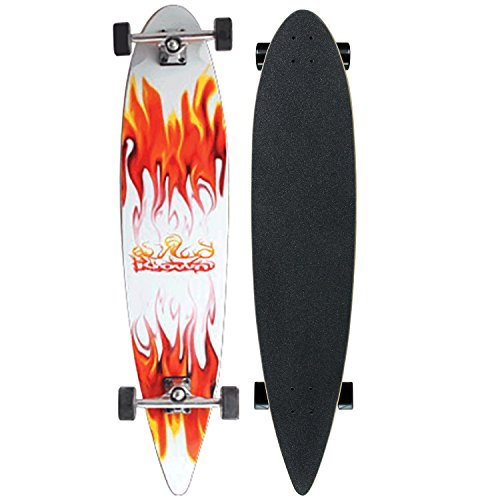 Krown Longboards RED/WHITE FLAME COMPLETE Longboard PIN