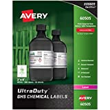 "Avery UltraDuty GHS Chemical Labels for Laser Printers, Waterproof, UV Resistant, 2"" x 4"", 500 Pack (60505)"