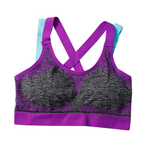 Women Racerback Sport Bra,Crytech Stretch Extra Breathable Padded Wireless High Impact Yoga Crop Tank Top Bra Full Coverage Support Workout Fitness Underwear with Removable Pads (Medium, Purple)