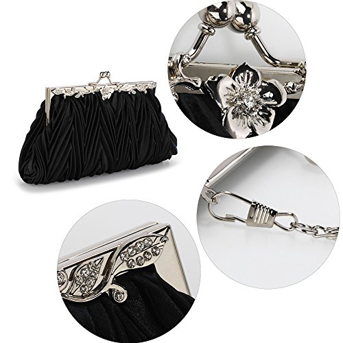 New Large With Bag 1 Size Chain Clutch Bridesmaid For Black Design Wedding Purse Designer Diamante Satin Flower pBwPC0q7