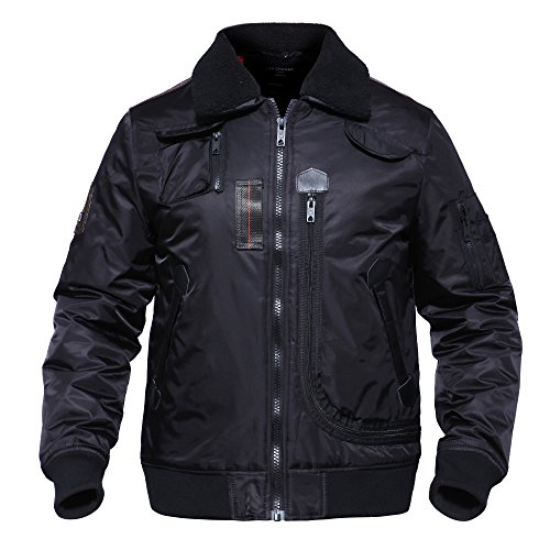 Skd Tactical (CRYSULLY Men Military Tactical Jacket Warm Bomber Quilted Puffer Puffy Anorak Coat Tactical Pilot Jackets Black)