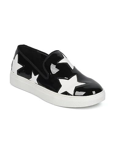 Women Stars Applique Slip On Low Top Sneaker HE23 - Black Patent (Size  6.0 12e8de709d9