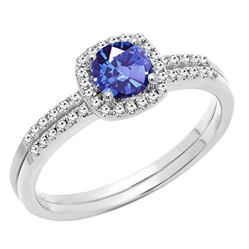 (Dazzlingrock Collection 10K 5 MM Round Tanzanite & Diamond Bridal Halo Engagement Ring Set, White Gold, Size 6)