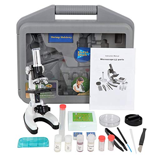 Saturnpower 52-in-1 Kids Microscope Kit Beginner's Science Kit w/ LED 100 x / 600 x /1200 x for Educational Scientific Learning Educational Toy School Science Microscope for Child Student Kid (Cascade Six Light)