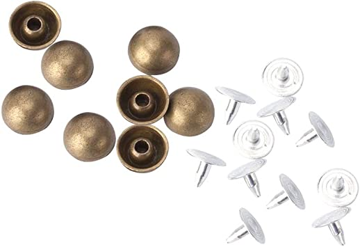 100x 6mm//8mm//10mm Round Double Cap Rivets Leather Craft Stud DIY Repair Tool Set