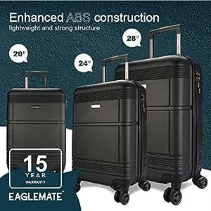 EAGLEMATE 3pc Luggage Suitcase Trolley Set TSA Travel Carry On Hard Case Soft Lightweight (Black)