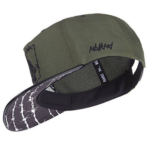 low priced 6c3e5 e18e1 Nebelkind Snapback Cap Olive Green Barbed Wire Pattern with Embroidery OneSize  Unisex