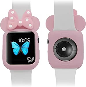 Soft Silicone Mouse Ears Protective Case Disney Character Compatible with I Watch Series 4 40MM 44MM for Kids (Pink + Pink, 44MM)