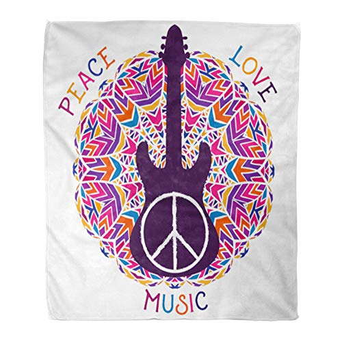 Emvency Throw Blanket Warm Cozy Print Flannel Hippie Peace Symbol Love Music Sign and Guitar on Ornate Colorful Mandala Comfortable Soft for Bed Sofa and Couch 50x60 Inches