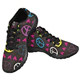 InterestPrint Women's Jogging Running Sneaker Lightweight Go Easy Walking Casual Comfort Sports Running Shoes Size 7 Fun and Cute Peace Sign & hearts Neon Colour Palette Review