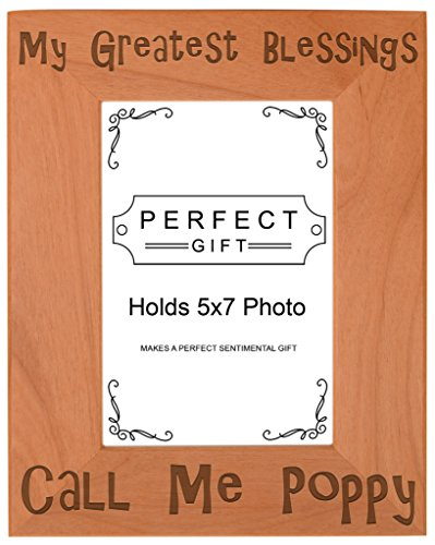 ThisWear Blessings Call Me Poppy Natural Wood Engraved 5x7 Portrait Picture Frame Wood
