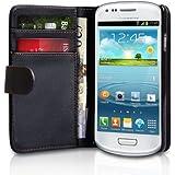Negra Cartera Funda de Cuero para Samsung GT-i8190 Galaxy S3 SIII Mini - Flip Case Cover + 2 Protectores de Pantalla