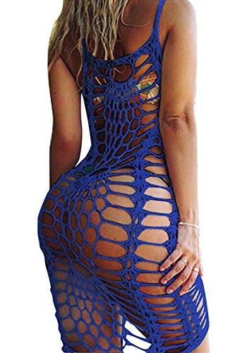 Fasker Women Beach Cover up Vintage Hollow Out Bikini Swimsuit Swimwear Cover Crochet Lace Beach - Cover Swimsuit Blue