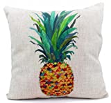 DECORLUTION Square Cotton Linen Throw Pillow Cover Pineapple 18