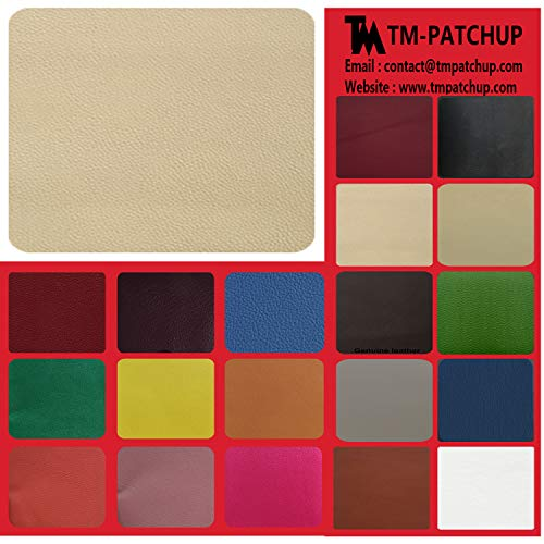 (Leather and Vinyl Repair Patch by TMgroup, Genuine Faux Leather Repair Patch, Peel and Stick for Couch, Sofas, car Seats, Hand Bags,Furniture, Jackets, Large Size 8 x 11 inches (Beige))