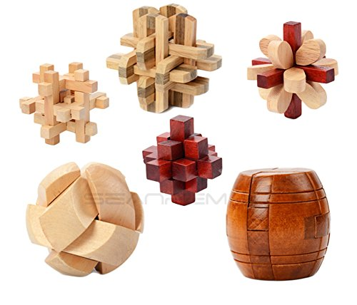 Inpay - Set of 6 Puzzle Wooden Puzzle Cube Games - 3D Interlocking Blocks for Teens and Adults - Brain Training Intelligence Travel Toys Leisure Games (E)