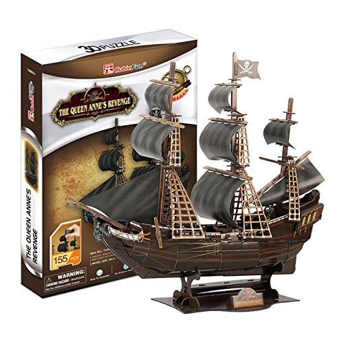 Bamwoo Story Pirates of the Caribbean Queen Revenge DIY Assembled Ship Model 3D Wooden Puzzle Toys(Black Pearl) Pirate Ship Revenge