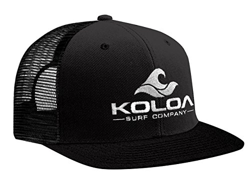 Koloa Surf(tm) Mesh Back Wave Logo Trucker Hat in Black with White Logo