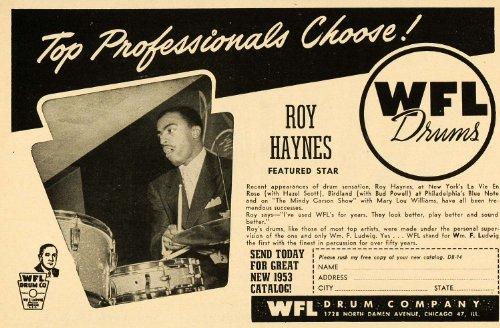 1953 Ad WFL Ludwig Drums Roy Haynes Percussion Chicago - Original Print Ad (Art Wfl)