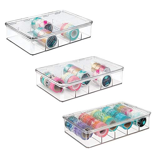 mDesign Plastic Art Supplies, Crafts, Crayons and Sewing Stacking Storage Organizer Box Container Holder Tidy with lid for organizing Washi Tapes Small Marker Ribbons Trims Beads – Set of 3, Clear
