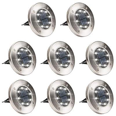 GIGALUMI 8 Pack Solar Ground Lights, 8 LED Solar Powered Disk Lights Outdoor Waterproof Garden Landscape Lighting for Yard Deck Lawn Patio Pathway Walkway