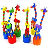 Dreaman Kids Intelligence Toy Dancing Stand Colorful Rocking Giraffe Wooden Toy