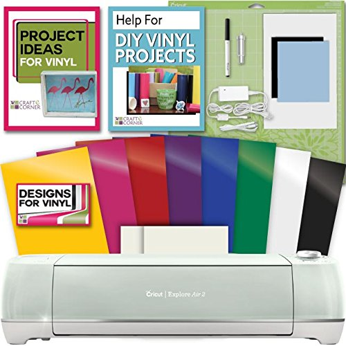 Cricut Explore Air Mint 2 Rainbow Vinyl Bundle & Transfer paper w/VInyl Designs by Cricut