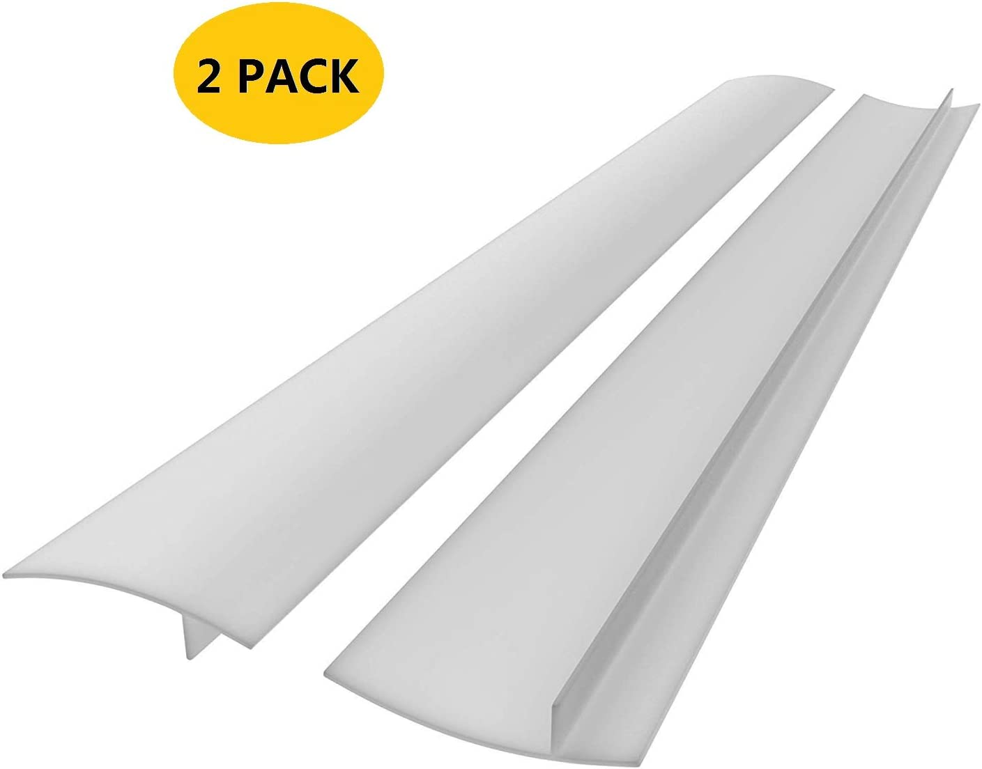21 inches Silicone Stove Counter Gap Cover (Set of 2) Seals Out Spills Between Counters, Appliances, Dryers, Stoves, Washing Machines White