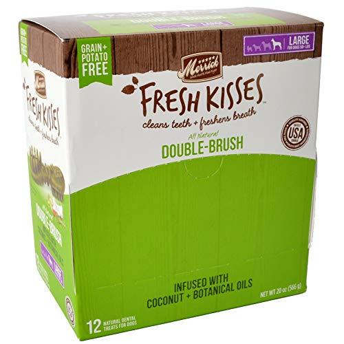 Merrick Fresh Kisses Coconut Oil Double-Brush Dental Treats - Large 12 Count by Merrick