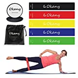 Cheap Okany Core Sliders Gliding Disk and 5 Exercise Resistance Loop Bands, Double-Sided Sliding Discs, Resistance Bands for Intense, Low-Impact Exercises to Strengthen Core, Glutes, Abs Fitness