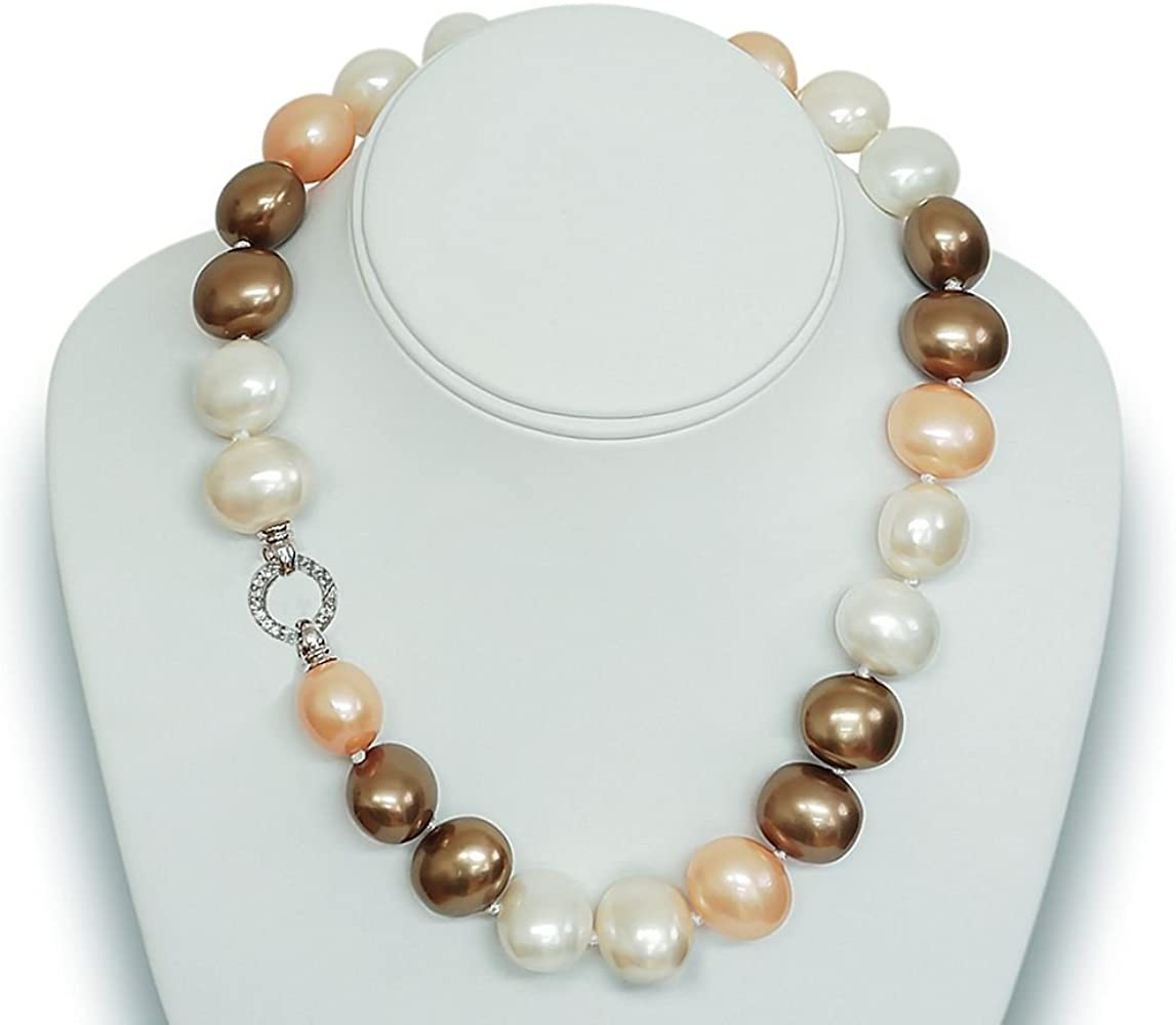 Flower Baroque Pearl Crystal Vintage Silver Choker Necklace