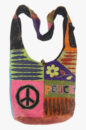Boho Bohemian Recycled Ripped Razor Cut Patch Peace Om Signs Sling Crossbody Monk Bag Purse Nepal, Bags Central