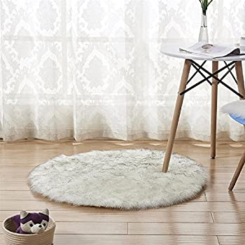 Amazon Com Chitone Faux Sheepskin Round Area Rug Silky