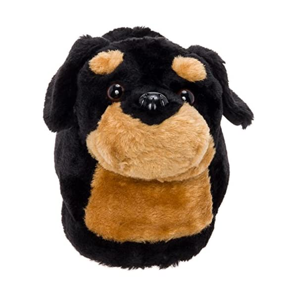 Silver Lilly Rottweiler Slippers - Plush Dog Slippers w/Platform 2