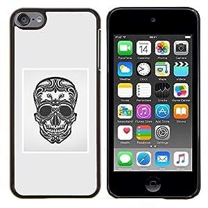For Apple iPod Touch 6 6th Generation - BLACK WHITE GREY SKULL DEATH FLORAL /Caja protectora de pl???¡¯????stico duro de la cubierta Dise???¡¯???¡Ào Slim F