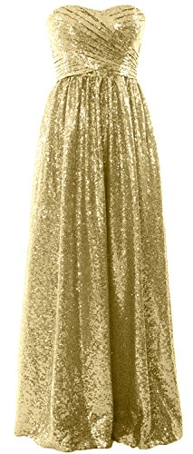 Party Gown MACloth Evening Champagner Bridesmaid Sequin Long Formal Women Strapless Dress nFFZq0BRA