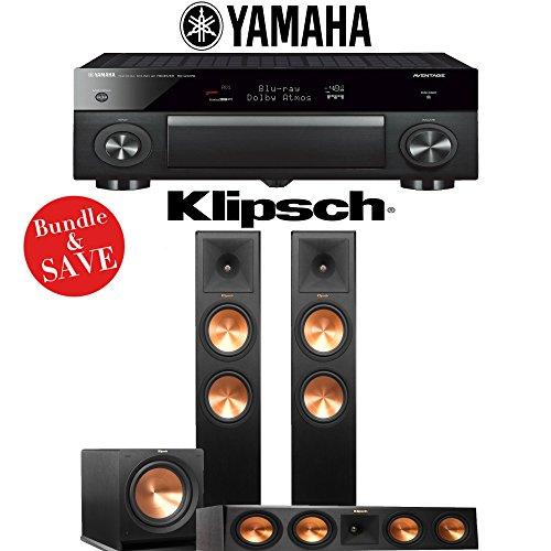 Yamaha AVENTAGE RX-A1070BL 7.2-Ch 4K Network AV Receiver + Klipsch RP-280F + Klipsch RP-450C + Klipsch R-115SW - 3.1-Ch Home Theater Package by Klipsch