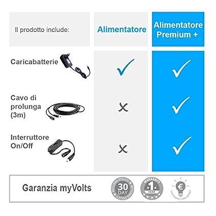 Presa Italiana MyVolts Alimentatore//Caricabatteria da 9V Compatibile con Tastiera Casio CTK-530
