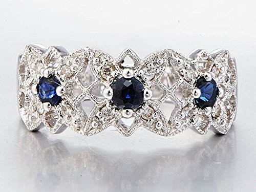 Lab Created Blue Sapphire Band Diamond Accents in Rhodium Plated 10k White Gold
