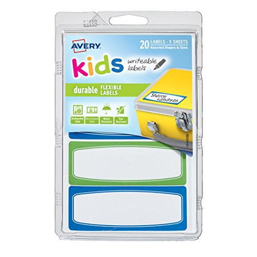 Avery 1.25 x 3.5 Inches Durable Labels for Kids Gear, Assorted, Pack of 20 (41413) Avery Durable Id Labels